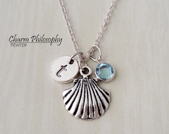 Clam Shell Necklace - Seashell Charm - Antique Silver Jewelry - Monogram Personalized Initial and Birthstone