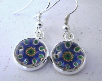 MEDITERRANEAN KITCHEN Silver Dangle Earrings -- Blue, green and gold paisley details from a Spanish tile, Mediterranean sunshine