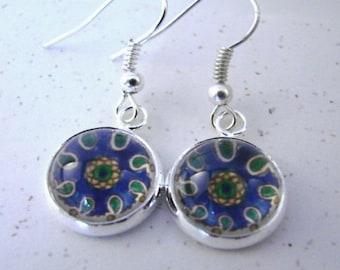 Mittelmeer-Küche Silber Ohrringe baumeln--Blau, grün und gold Paisley Einzelheiten aus spanischen Carreau, mediterranen Sonne