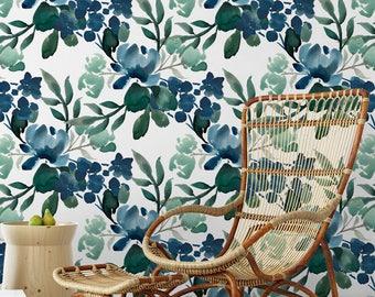 Deep Greens removable wallpaper / Floral self adhesive wallpaper / Blue Green Botanical temporary wallpaper W304-27