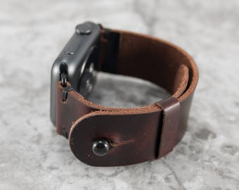 Leather Apple Watch Band 42mm 38mm for Men or Women, Man or Woman in Burgundy Cordovan - Handmade Leather Apple Watch Strap by Cave Leather