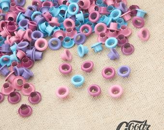 "x200PCS  5mm 13/64"" Eyelet Mix Color / Pink / Light Blue / Burgundy / Margenta eyelets / 5mm eyelets"
