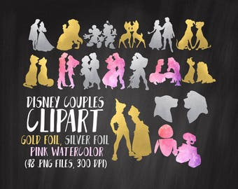 Disney Couples Clipart, Gold Disney Couples Clipart, Pink, Silver, 16 Couples Clipart, Commercial Use, Famous Couples Clipart