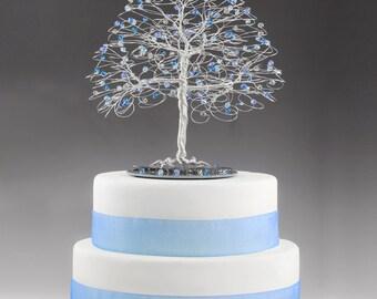 Wedding Tree Cake Topper with Swarovski Crystal Elements Sapphire, Capri Blue, Aquamarine, Grey Black Diamond on Silver tone Wire Decor