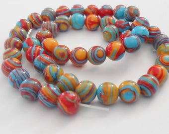 Agate beads 5 natural round multicolor stripes 6 mm. (9272179)