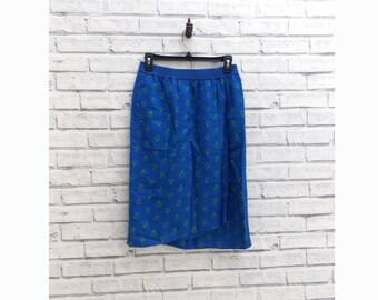 ROYAL FUNK - Royal Blue Midi Skirt With Funky Eye Pattern   Liz Claiborne Skirt   Funky Blue Skirt   Size 4   Blue Midi Skirt   Vintage Midi