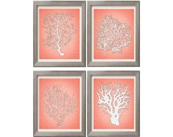 Coral Art, Set of 4 Art Print, Sea Coral Wall Art, Orange Coral Print Set, Sea Coral Art Prints, Sea Algae, Coral Wall Art, Sealife