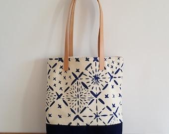 IMMEDIATE SHIP Organic Shoulder Bag with Big Sashiko Pattern
