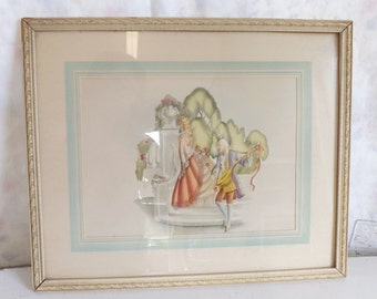 Vintage 1940s romantic framed print colonial print lady and gentleman courting couple cottage decor
