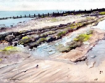 Original Watercolor Painting titled Sandown Beachscape