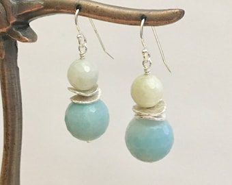 Amazonite 925 Silver Earrings, 12 mm & 8 mm Faceted Amazonite beads with 925 Silver finding parts / ear wire