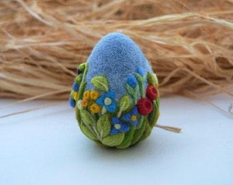 Egg Easter Decoration Needle Felted Eggs Easter Gift  Easter Ornament Royal Blue Flowers Christians
