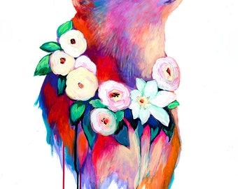 Bear and Flowers Fine Art Print by Jenlo