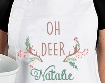Personalized Oh Deer Apron - Christmas Apron - Name Aprion - Deer Antler Aprron - Christmas Apron - Christmas Baking Apron