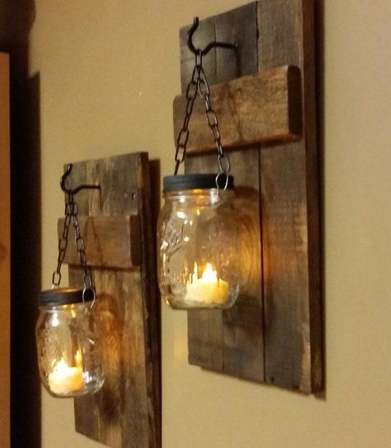 Rustic Candle Holders, Home Decor, Rustic Candles, Sconces , Lanterns,  Mason Jar Decor, Farmhouse Decor, Candleholders Priced 1 Each