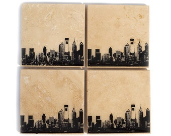 Philadelphia Skyline Coaster Set (4 Stone Coasters, Black & White) Philly Cityscape Home Decor
