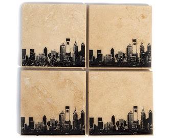 Philadelphia Skyline Coaster Set (4 Stone Coasters, Black & White) Philly Cityscape Home Decor
