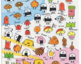 Kawaii Japan Sticker Sheet Assort: Cute Derpy Japanese Foods Bento Riceball Sushi Monster Characters Z