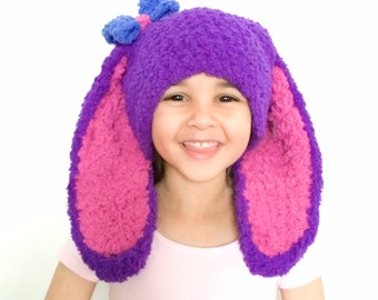 6 to 12m Purple Easter Bunny Blue Bow Raspberry Crochet Hat, Childrens Easter Bunny Hat Girl Baby Bow Bunny Ears Beanie Easter Bunny Costume