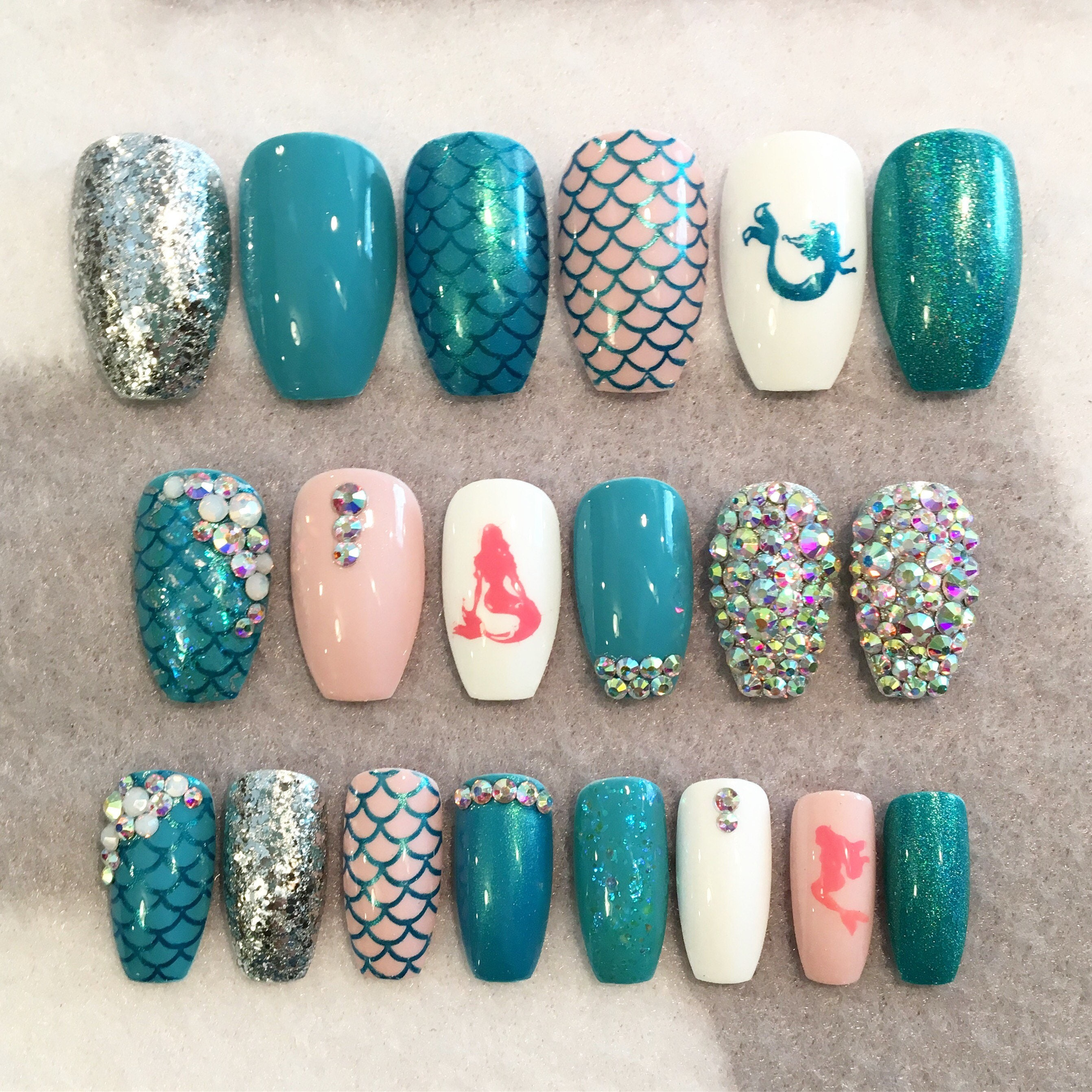 Blue Mermaid Fake Nails * Faux Nails * Glue On Nails * Blue * Pink ...