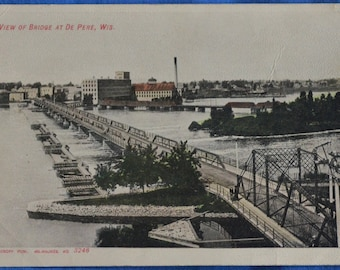 View of Bridge De Pere Wisconsin UDB Black and White Antique Postcard