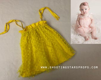 Little Sweetheart - Sunshine - Sitter Dress - Hearts - Toddler Top - Adjustable Tie Straps - Mesh Fabric - Tutu - Photography Prop