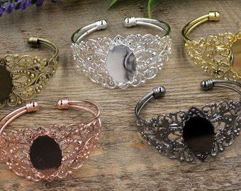 5 Brass Bronze/ Silver/ Gold/ Rose Gold/ White Gold/ Gun-Metal Plated Filigree Floral Bangle W/ Lace Edged 18x25mm Oval Bezel Setting- Z5938