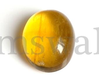 Fluorite Oval Cabochon, Natural Yellow Fluorite Cabochon, 21x17 MM, Fluorite Smooth Cabochon, 35 Cts, Yellow Fluorite Loose Gemstone.