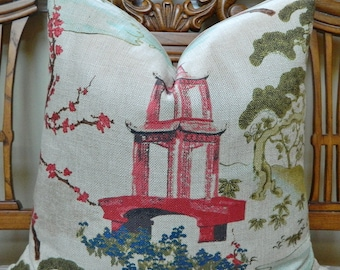 Regal R-ZEN Linen / Decorative Throw Pillow Cover Euro Pillow Cover Asian Chinoiserie Pagoda Linen Made to Order