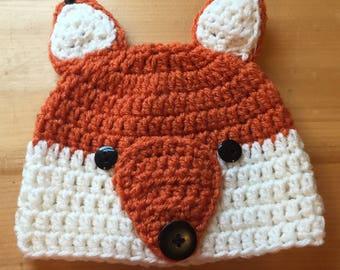 Baby 3-6 Months Woodland Critter Fox Hat
