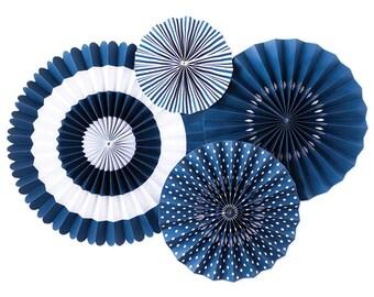 Blueberry Party Fans - Party Paper Fans - Blue Party Decor - Paper Fan Backdrop - Blue Backdrop - Navy Pinwheel - Paper Rosettes -  PLCP02