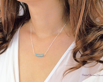SALE - Petite Faceted Crystal Round Turquoise, Minimalist Round Bead Bar, Simple and Dainty Bar, Dainty Perfect Layering, Valentine's Gift