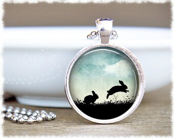 Rabbit Necklace • Bunny Jewelry • Hopping Rabbits • Rabbit Jewelry • Bunny Gift • Pet Lover Gift • Bunny Gifts