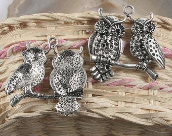 4pcs antiqued silver couple owls design pendant charm G953