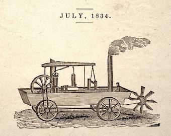 Steampunk Art Print Steam Carriage Design Drawing
