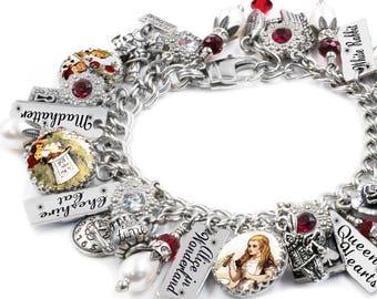 Alice in Wonderland Charm Bracelet, Alice in Wonderland Jewelry, Alice Pearl Bracelet, White Rabbit, Mad Hatter, Queen of Hearts