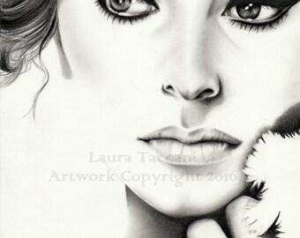 Stampa artistica firmata - Ritratto di Sofia Loren - disegno grafite