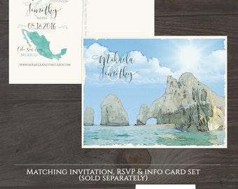 Destination wedding Cabo San Lucas Mexico Beach illustrated wedding invitation Save the Date Postcard Mexican wedding Deposit Payment