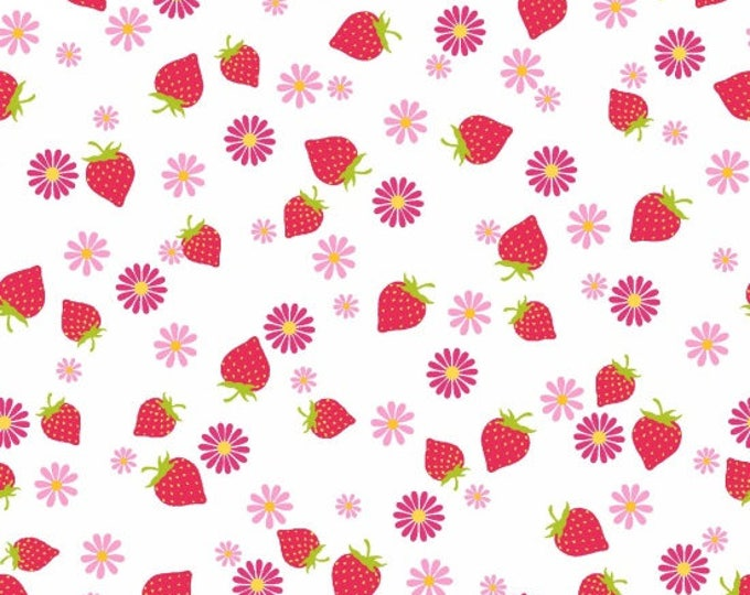 Cupcake Cafe by Studio E - Strawberries on White - Cotton Woven Fabric