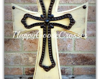 Wood Cross - Large Standing Cross - Antiqued Beige and Stain, with Large Open Iron Cross