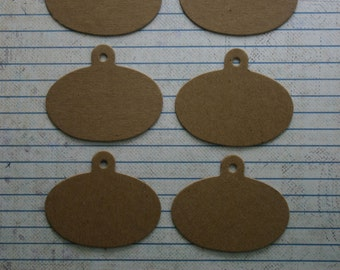 """6 bare chipboard die cuts oval shaped small tags 1 3/4"""" x 2 1/8"""""""