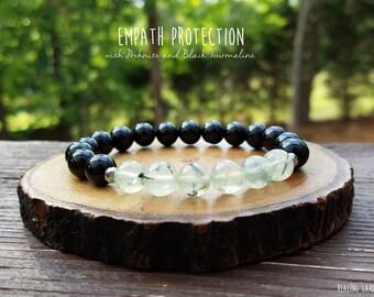 Empath and Aura Protection // Prehnite and Black Tourmaline // Reiki // Energy Bracelet // Best Selling Item // Healing Garden Shop