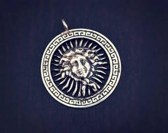 Sun God Pendant - Sun Pendant - Sterling Silver Sun Amulet