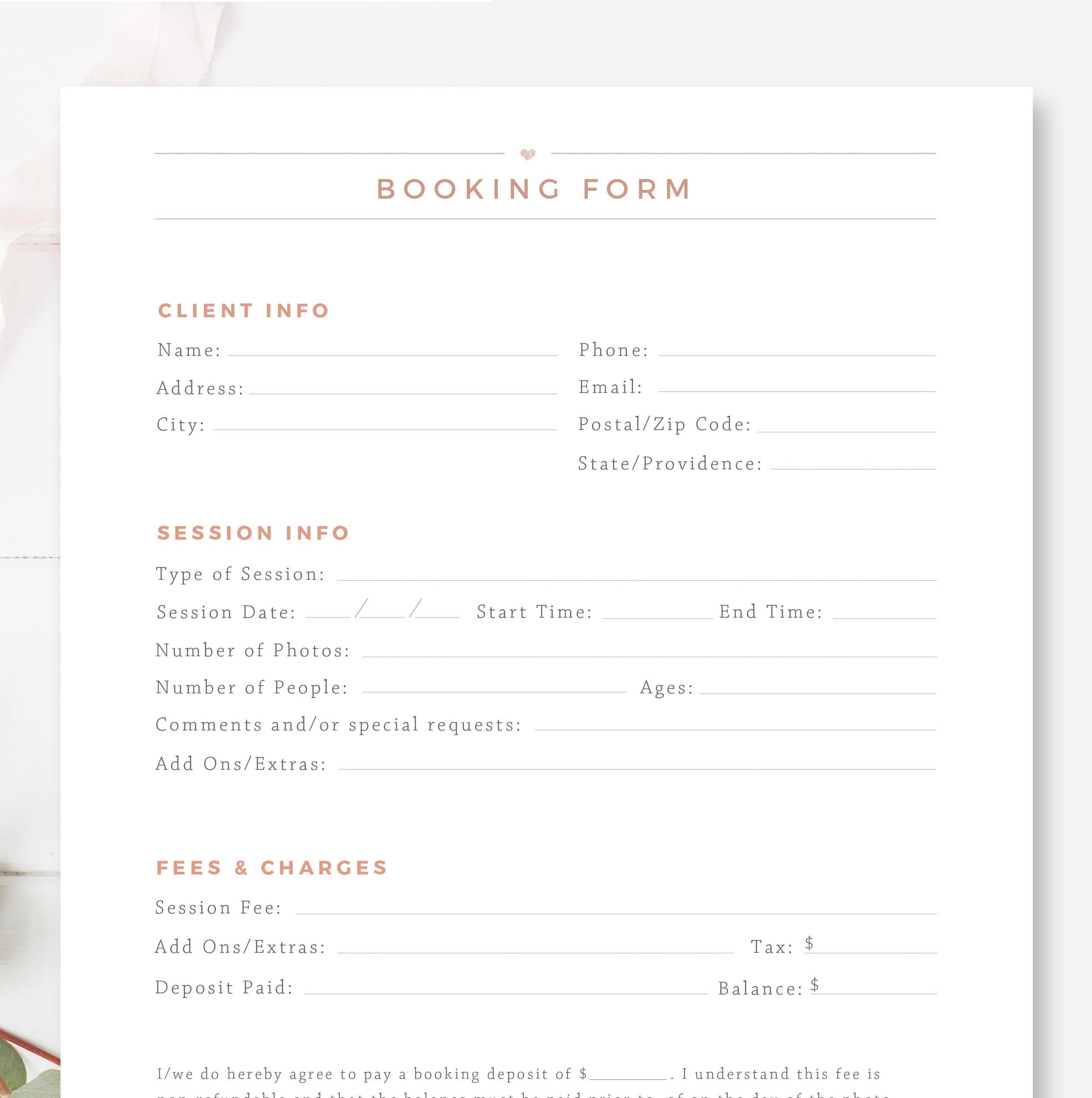Kunden die Buchung Form für Fotografen Fotografie-Vertrag