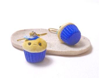 Earrings - blue polymerclay kawaii cupcake