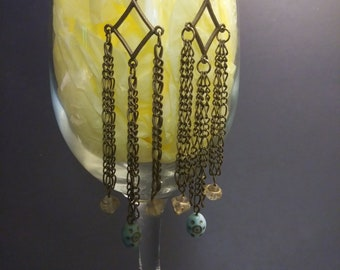 Bronze Chain Dangle Earrings with Vintage Beads