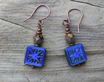 Cobalt Blue Earrings, Czech Glass Earrings, Boho Earrings, Rustic earrings, Tiny Earrings, Gift for Her, Boho Jewelry, Bohemian Earrings