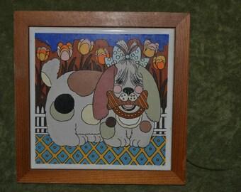 Vintage 70s Gailstyn-Sutton Tile Absract Polka Dot Dog Wall Hanging Trivet