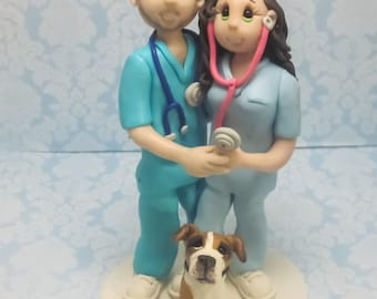 Custom Wedding Cake Topper for Nurses, Wedding Cake Topper - CUSTOM cake topper, FUNNY cake topper, Wedding figurines, dog cake topper,