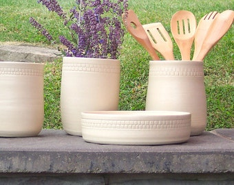 Pottery Utensil Holder,Ceramic Kitchen Tool Holder, Wedding Shower Gift, Kitchen Gift White Utensil Crock, Utensil Storage Jar, Home Gift
